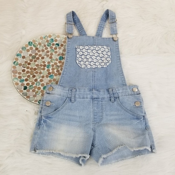 Cherokee Other - Cherokee Bib Overalls Cut Off Denim Shorts Lace